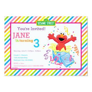 O aniversário da menina de Elmo Convite 12.7 X 17.78cm