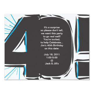 O aniversário de 40 anos convida convite 10.79 x 13.97cm