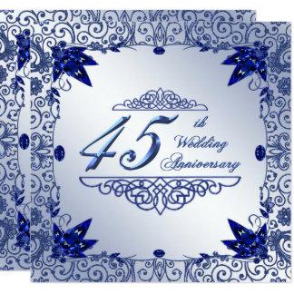 O aniversário de casamento 5.25x5.25 da safira convite quadrado 13.35 x 13.35cm