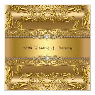 O aniversário de casamento da folha de ouro 50th convite quadrado 13.35 x 13.35cm