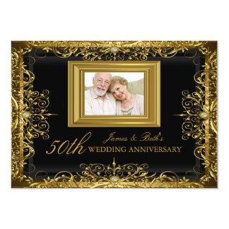 O aniversário de casamento do damasco 50th da jóia convite 12.7 x 17.78cm
