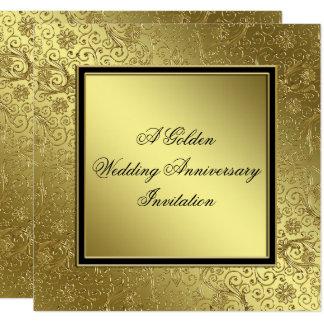 O aniversário de casamento dourado clássico convite quadrado 13.35 x 13.35cm