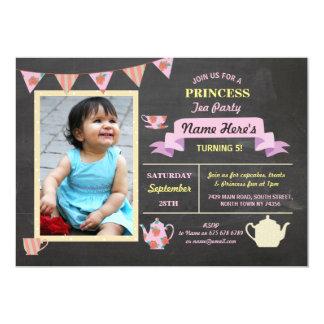 O aniversário do rosa do giz da princesa tea party convite 12.7 x 17.78cm