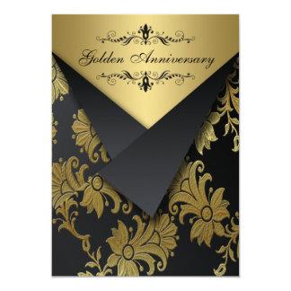 O aniversário dourado das aletas do FALSO convida Convite 12.7 X 17.78cm