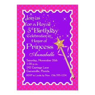 O aniversário roxo, cor-de-rosa da princesa convite 12.7 x 17.78cm