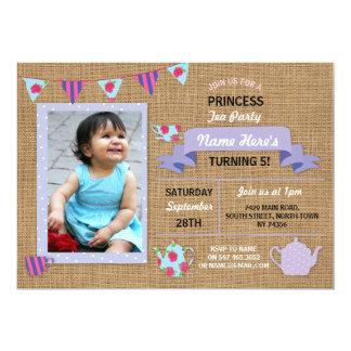 O aniversário roxo da princesa tea party de convite 12.7 x 17.78cm