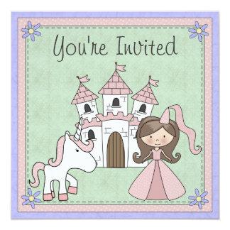 O aniversário triguenho bonito da princesa e do convite quadrado 13.35 x 13.35cm