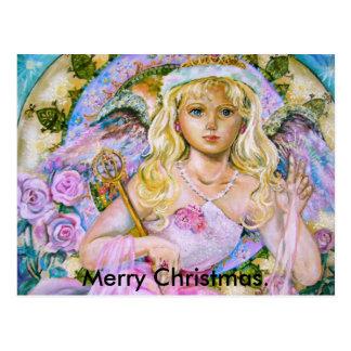 O anjo da safira cor-de-rosa., Natal alegre Cartão Postal
