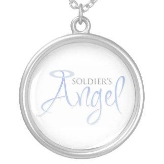 O anjo do soldado colar com pendente redondo