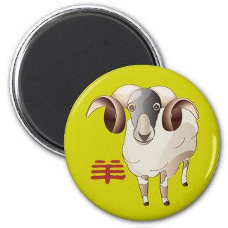 O ano de carneiros projeta em volta do ímã íman