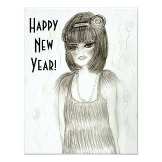 O ano novo da menina do Flapper convida Convites Personalizados