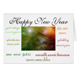 O ano novo do mundo cartão de nota