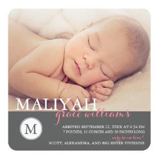 O anúncio clássico do nascimento da menina do convite quadrado 13.35 x 13.35cm