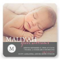 O anúncio doce do nascimento do bebé do monograma/