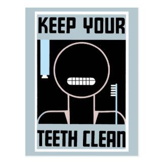 O anúncio minimalista retro mantem seus dentes cartão postal