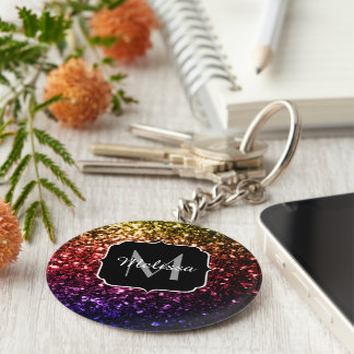 O arco-íris bonito sparkles monograma chaveiro