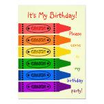 O arco-íris colore a festa de aniversário dos convite 12.7 x 17.78cm