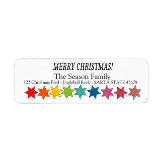 O arco-íris do Feliz Natal stars a etiqueta do