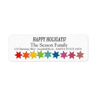 O arco-íris feliz de Holigays stars a etiqueta do