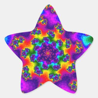 O arco-íris floral polvilha etiquetas da estrela