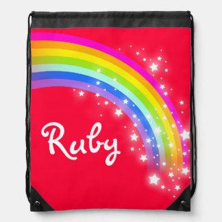 O arco-íris vermelho conhecido stars o saco de cor mochilas