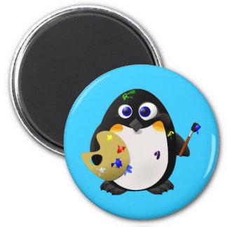 """""""O artista"""" -- Pinguim bonito do pintor Ímã Redondo 5.08cm"""