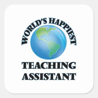 O assistente de ensino o mais feliz do mundo adesivo quadrado