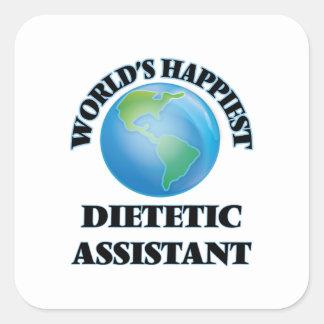 O assistente dietético o mais feliz do mundo adesivo quadrado
