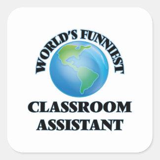 O assistente o mais engraçado da sala de aula do adesivo em forma quadrada