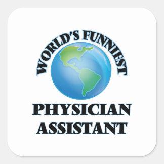 O assistente o mais engraçado do médico do mundo adesivo em forma quadrada