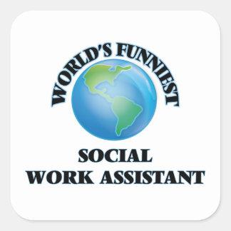 O assistente o mais engraçado do trabalho social adesivo quadrado
