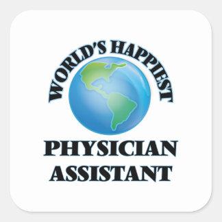 O assistente o mais feliz do médico do mundo adesivo quadrado