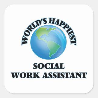 O assistente o mais feliz do trabalho social do adesivo quadrado