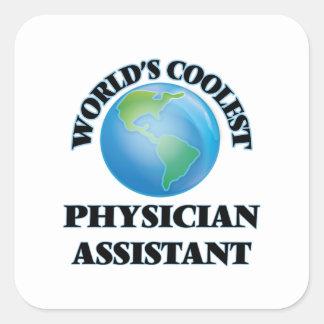 O assistente o mais fresco do médico do mundo adesivo quadrado