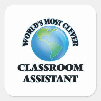 O assistente o mais inteligente da sala de aula do adesivo em forma quadrada