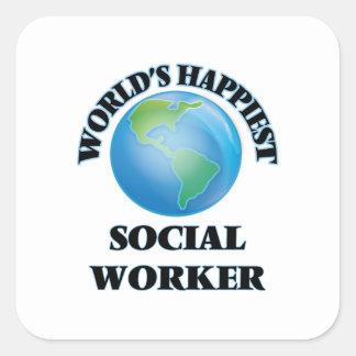O assistente social o mais feliz do mundo adesivo quadrado