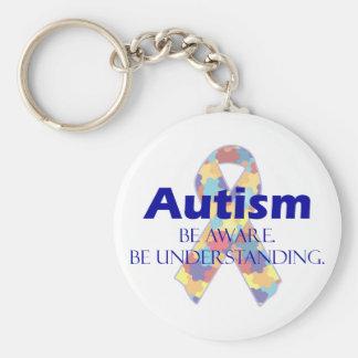 O autismo esteja ciente esteja compreendendo chaveiro