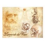 O Auto-retrato e os estudos anatômicos de da Vinci Cartoes Postais