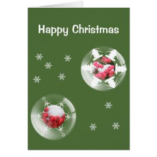 O azevinho festivo borbulha cartão de Natal