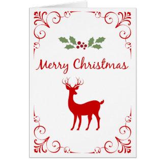 O azevinho festivo da rena do Natal enrola o Cartão Comemorativo
