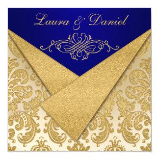 O azul das ALETAS do FALSO, aniversário do damasco Convite Quadrado 13.35 X 13.35cm