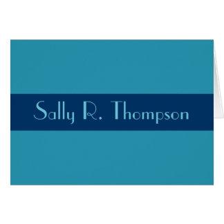 O azul de turquesa adiciona seu nome cartão de nota