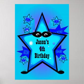 O azul do menino do aniversário da estrela do pôster