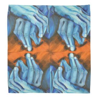 O azul entrega o bandanna do desenhista da arte pano para cabeça