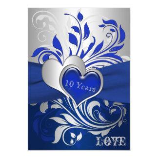 O azul, rolos de prata, aniversário dos corações convite 12.7 x 17.78cm