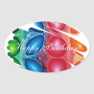 O azul vermelho do feliz aniversario espirala adesivo oval