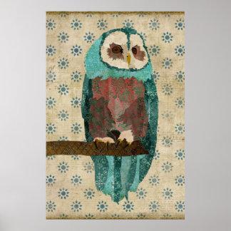 O Azure do vintage & cora poster da arte da coruja