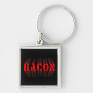 O bacon desvanece-se chaveiro quadrado na cor prata