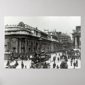 O Banco da Inglaterra decorado para a rainha Poster
