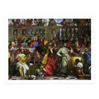 O banquete do casamento em Cana, detalhe de Cartão Postal